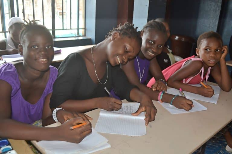 beneficiaries of girls shelter during their lesson